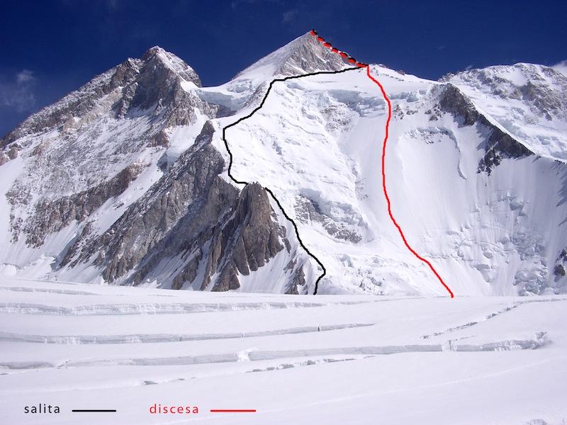 gasherbrum 2 linee della salita e discesa con gli sci
